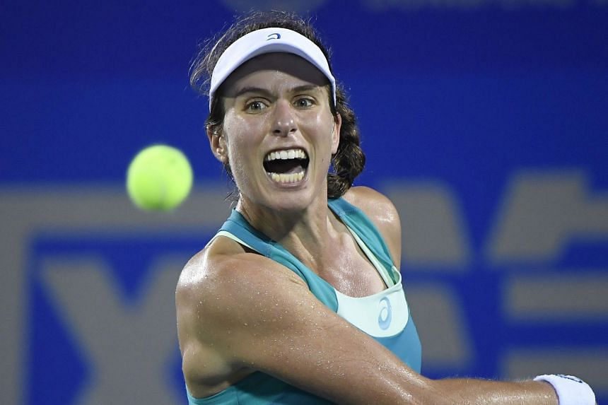 Konta (above) said she and Belgian coach Wim Fissette had parted ways amicably after less than a year together.