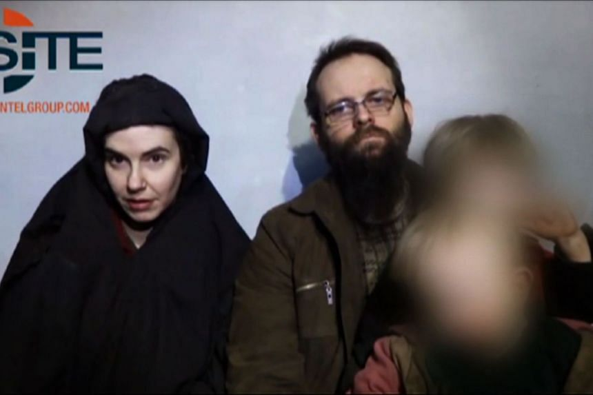 Caitlan Coleman (left) and her family in a screenshot from a video filmed while they were being held.