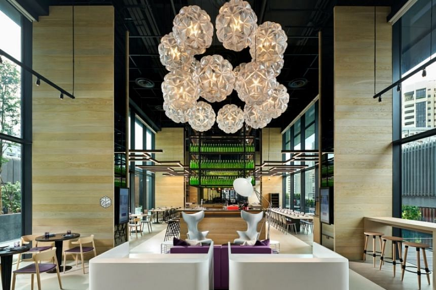 The entrance to Grains and Hops at YOTEL Singapore.
