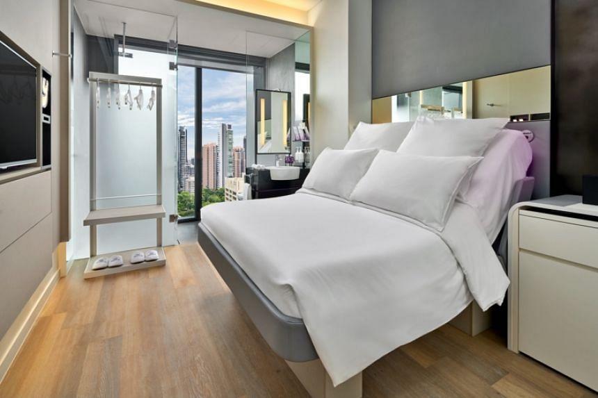 Premium Queen Cabin view at YOTEL Singapore.