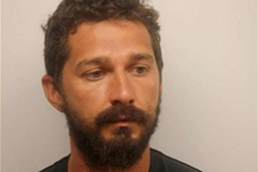Actor Shia LeBeouf is pictured in a photo provided by US police.