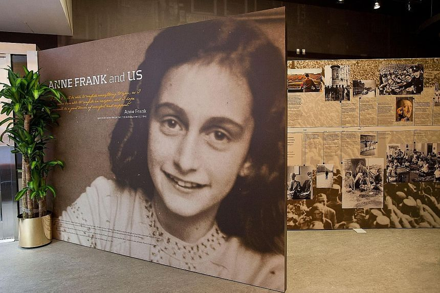 The entrance of the Anne Frank Center in New York City. American online retailers were selling a Halloween costume representing the clothes of the celebrated Jewish teen who died in a Nazi concentration camp during World War II.