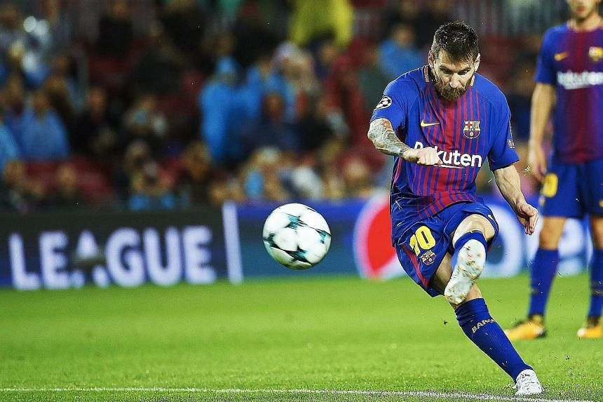 Barcelona talisman Lionel Messi scoring a trademark free kick in the 61st minute against Olympiakos to register his 100th goal in European football competitions. The Spanish giants will progress to the last 16 of the Champions League with a win at Ol