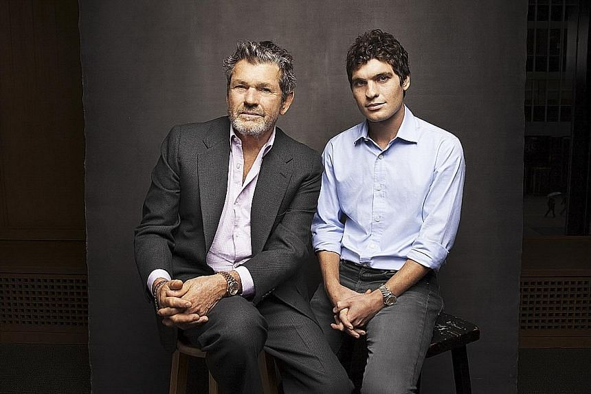 Founder of Rolling Stone Jann Wenner with his youngest son Gus at the magazine's headquarters in New York City.