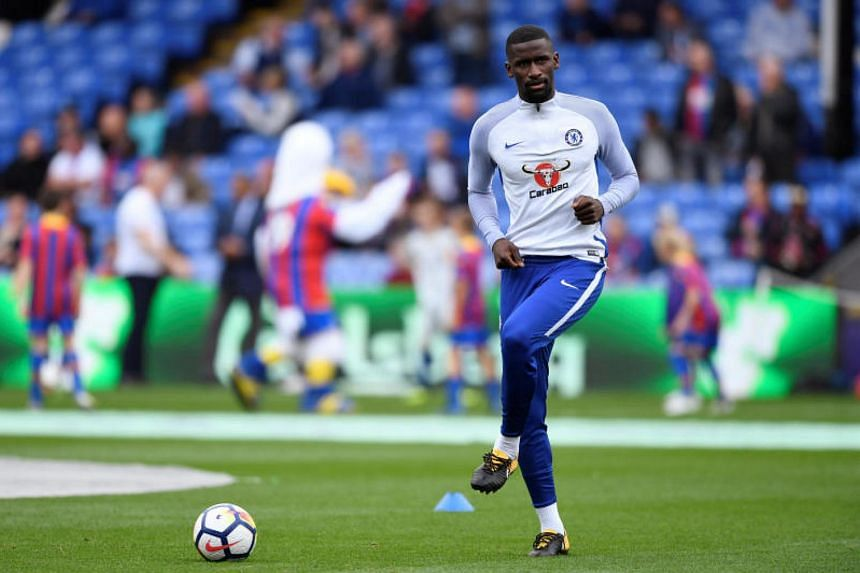 Chelsea's Antonio Rudiger warms up before the match on Oct 14, 2017.