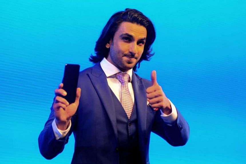Indian Bollywood actor Ranveer Singh at the launch of Vivo V7+ mobile in Mumbai on Sept 7, 2017.