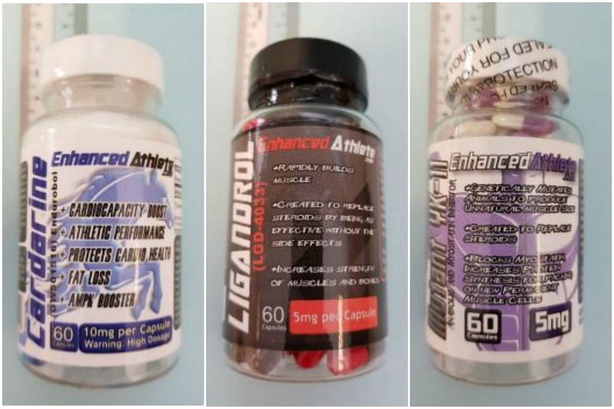 (From left) Enhanced Athlete Cardarine, Enhanced Athlete Ligandrol and Enhanced Athlete Mutant YK-11 contain chemicals still under research which have not been approved for medical use in Singapore.