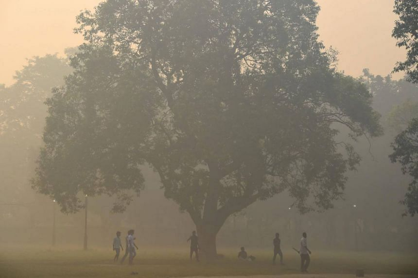 Heavy smog in New Delhi on Oct 20, 2017, the day after the Diwali Festival.
