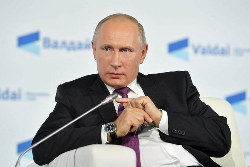 Russian President Vladimir Putin at a plenary session of an annual meeting of the Valdai International Discussion Club in Sochi, Russia, on Oct 19, 2017.