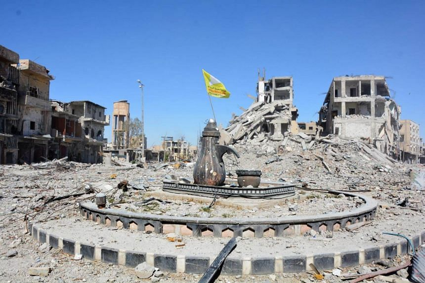 A view of the Al-Na'im roundabout after its liberation in central Al-Raqqa, Syria, on Oct 18, 2017.