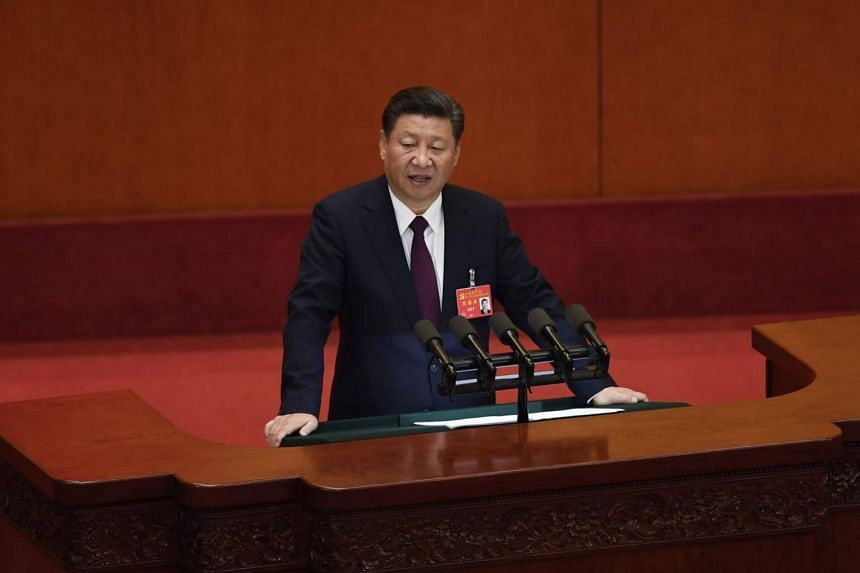 Chinese President Xi Jinping  at the opening session of the Chinese Communist Party's Congress at the Great Hall of the People in Beijing on Oct 18, 2017.