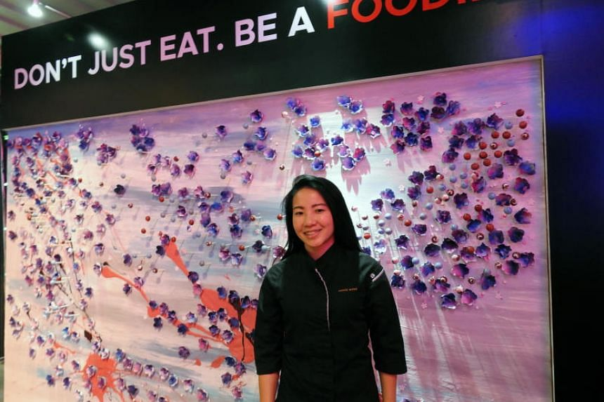 Chef Janice Wong created a dessert art wall to showcase Singapore's flora and fauna at the launch of the Singapore Tourism Board's new brand campaign in Seoul.