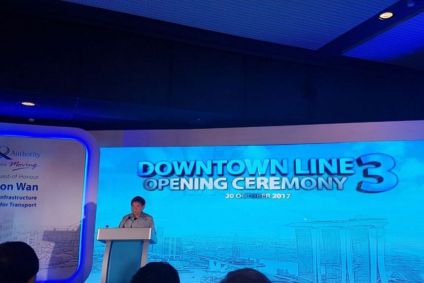 Minister for Transport Khaw Boon Wan speaks during the Downtown Line 3 opening ceremony at the Expo station.