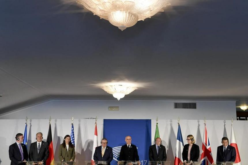 From left: European Commissioner for Security Union Julian King, European Commissioner for Migration and Home Affairs Dimitris Avramopoulos, United States' Secretary of Homeland Security Elaine Duke, Canada's Minister of Public Safety Ralph Edward Go