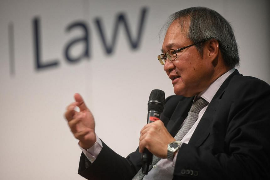 Attorney-General Lucien Wong speaks during the Q and A after delivering his lecture on Prosecution in the Public Interest.