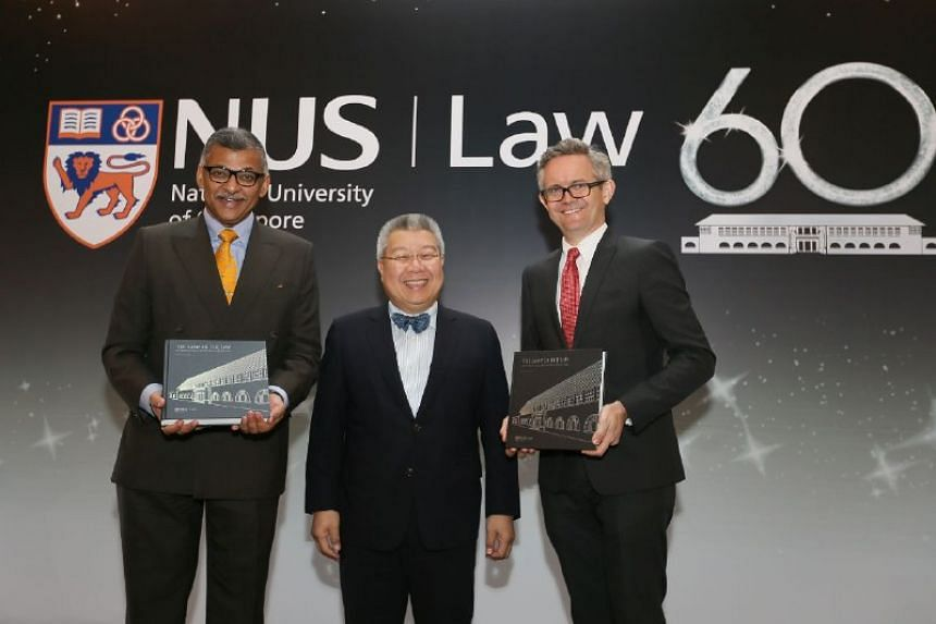 Chief Justice Sundaresh Menon (left) with Dr Kevin Tan and NUS Law Dean Professor Simon Chesterman at the NUS Law anniversary dinner on Oct 20.