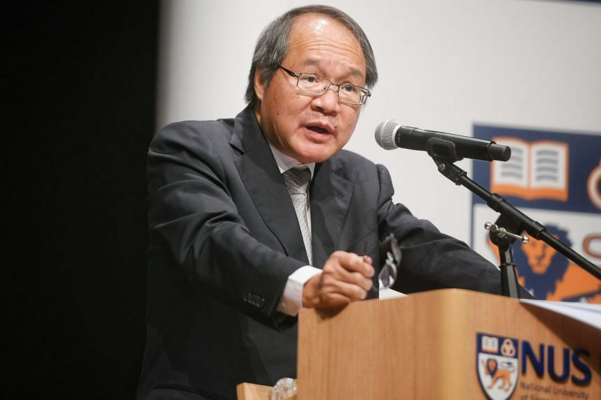 Attorney-General Lucien Wong giving a talk, titled Prosecution in the Public Interest, at the annual Singapore Law Review Lecture held at the National University of Singapore's law faculty yesterday.