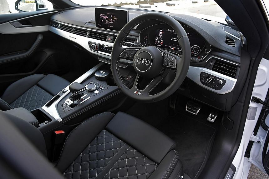 Quality leather upholstery (right) is found in the cabin of the Audi S5 Sportback (far right).