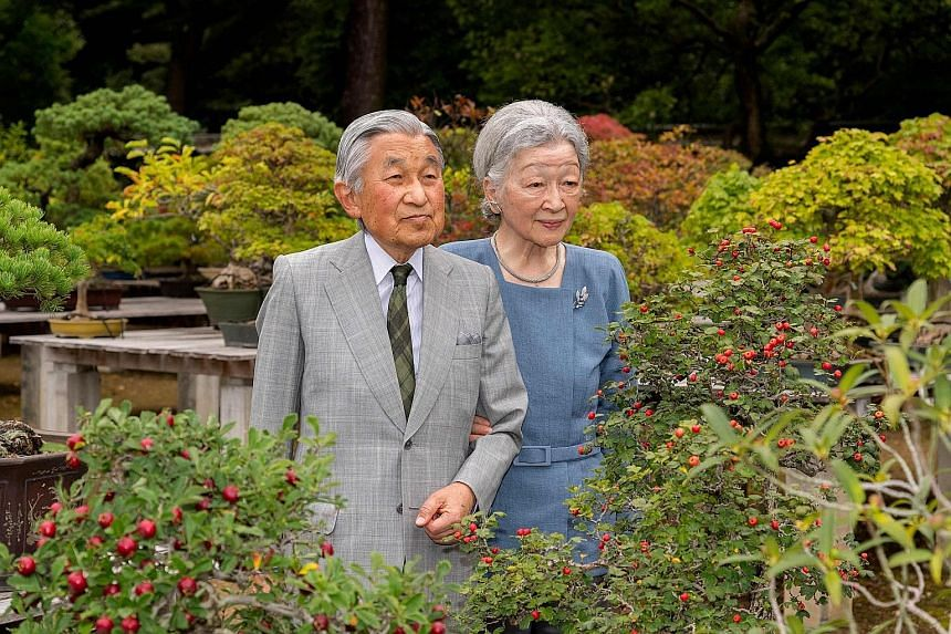 The 83-year-old Emperor Akihito, seen here with Empress Michiko at the Imperial Palace in Tokyo, said last year that he feared age might make it hard for him to continue to fulfil his duties.