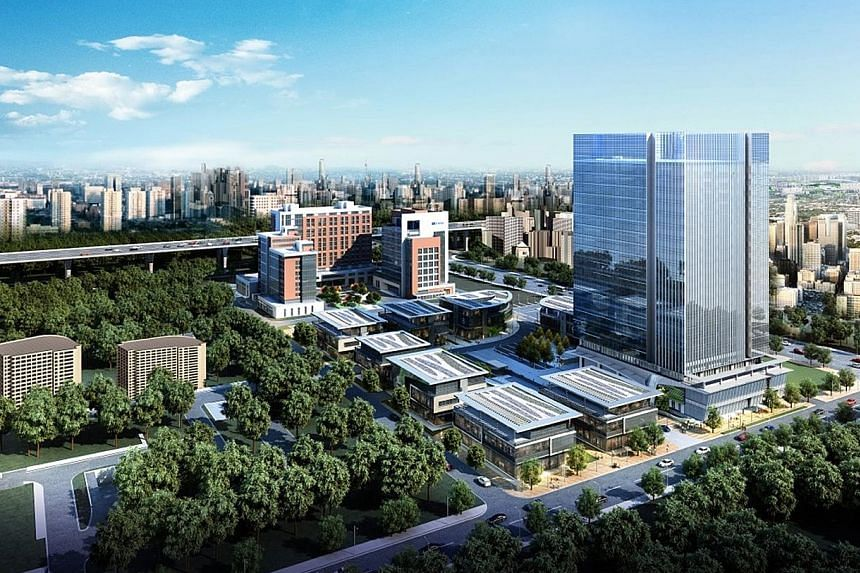 Sandhill Plaza, a business park project in Shanghai. MGCCT's portfolio is made up of three commercial properties in Greater China, with a total lettable area of 2.6 million sq ft.