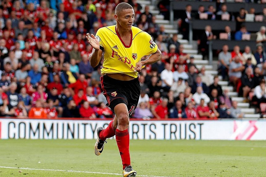 Brazil Under-20 forward Richarlison celebrating his first start back in August with a goal against Bournemouth. The 20-year-old has been a star turn for Watford this season and Chelsea have to be wary of him.