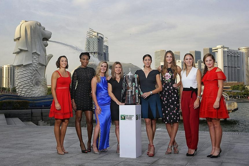 The planet's best women tennis players (from left) Caroline Garcia, Venus Williams, Elina Svitolina, Simona Halep, Garbine Muguruza, Karolina Pliskova, Caroline Wozniacki and Jelena Ostapenko have gathered in Singapore for the WTA Finals. Before the
