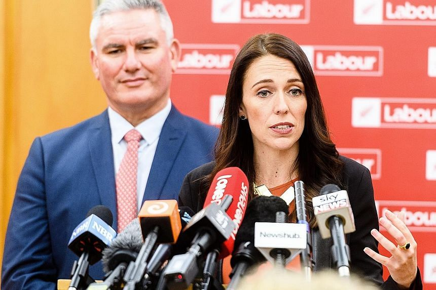 Ms Jacinda Ardern, 37, New Zealand's youngest leader in recent times, with Labour's deputy leader, Mr Kelvin Davis, at a news conference yesterday.