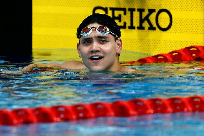 A happy Joseph Schooling of Singapore after winning the SEA Games 100 metres butterfly final at the  National Aquatic Centre in Kuala Lumpur on Aug 23, 2017.
