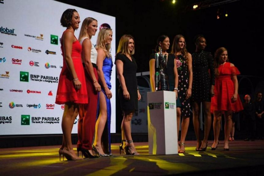 From left, Caroline Garcia, Caroline Wozniacki, Elina Svitolina, Simona Halep, Garbine Muguruza, Karolina Pliskova, Venus Williams and Jelena Ostapenko, pictured at the WTA Finals singles draw ceremony on Oct 20, 2017.