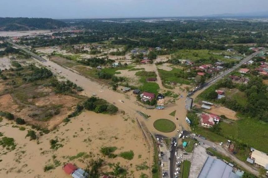 Aerial views of flooded Kota Belud district.