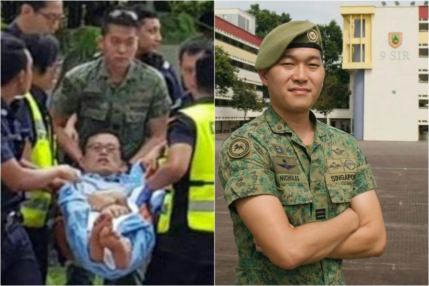 CPT Nicholas Aw Zhong Wen helped by adding bandages and helping a paramedic carry the man who had been injured by a wild boar to the ambulance.