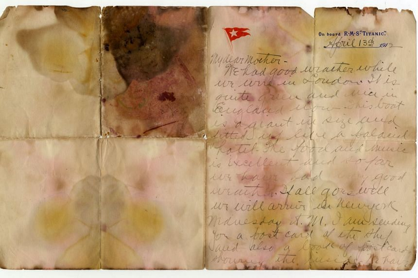 The letter is one of the last known to have survived the sinking and still carries stains from its time in the Atlantic.