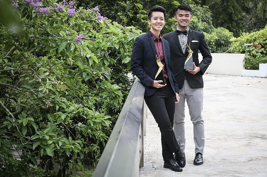 Award winners Shayna Ng (left), 27, a record-breaking bowler, and Cai Yinzhou, 26, a social entrepreneur.