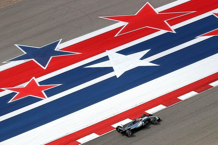 Lewis Hamilton driving his Mercedes during practice for the US Grand Prix on Friday. His 1min 34.668sec broke the Circuit of The Americas' mark.