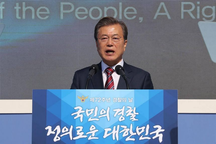 South Korean President Moon Jae In gives a speech during a ceremony to mark the 72nd National Police Day at Gwanghwamun Square in Seoul, on Oct 20, 2017.
