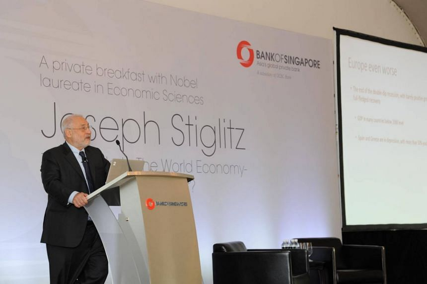 Professor Joseph Stiglitz from Columbia University, a Nobel Laureate in Economics Sciences, speaking at a talk for Bank of Singapore clients on Oct 10, 2014.