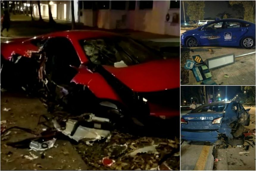 Photos of the wreckage were posted online after a McLaren sports car and taxi collided along Yishun Avenue 1.