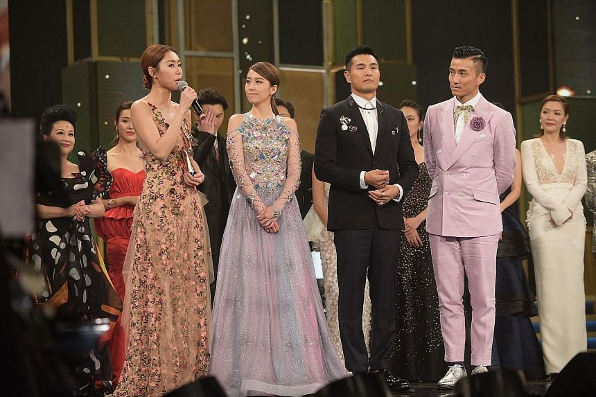 Nancy Sit took home most popular TVB drama female character for her role in long-running drama A Kindred Spirit. Vincent Wong (far left) won My Favourite TVB Actor, while Ali Lee (left) was My Favourite TVB Actress for their roles in Legal Mavericks.