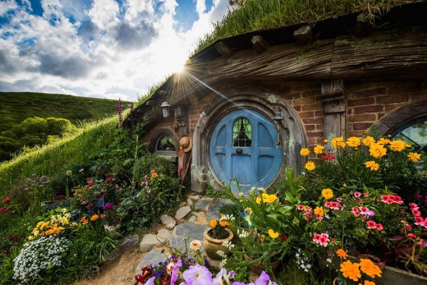 A hobbit hole in Hobbiton, the film set for the Lord Of The Rings and The Hobbit film series.