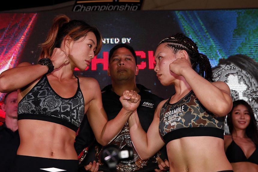 The main event will see women's atomweight champion Angela Lee (left), who is of Korean and Singaporean descent, defend her title against Japanese veteran Mei Yamaguchi.