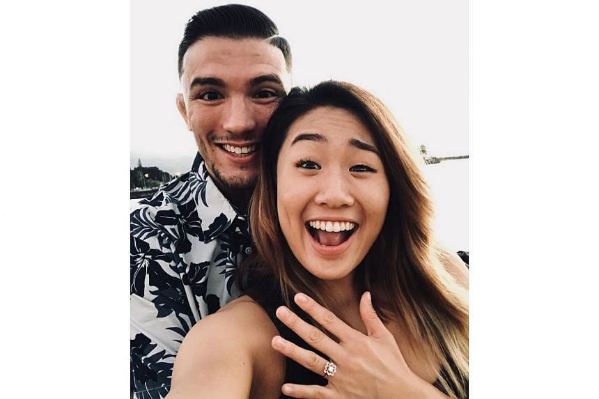 One Championship fighters Angela Lee and Bruno Pucci celebrating their engagement in Hawaii on Sunday (Oct 22).