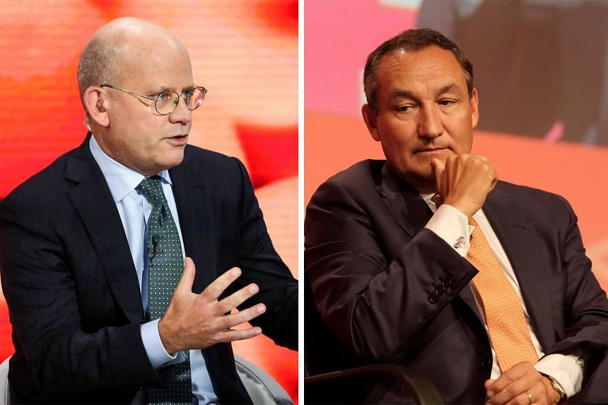 "GE boss John Flannery (left) said ""we need to make some major changes"", while Mr Oscar Munoz (right) failed to reassure investors that costs and capacity growth were under control at United Airlines."