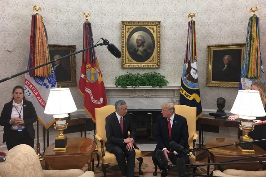 PM Lee and President Trump speak to the press ahead of their meeting at the White House on Monday (Oct 23).