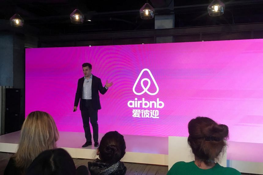 Airbnb co-founder and CEO Brian Chesky speaks at an event to launch the brand's Chinese name in Shanghai.