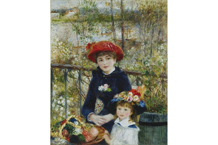 The Pierre Auguste Renoir, French, 1841-1919 painting, Two Sisters (On the Terrace), oil on canvas, from 1881 at the The Art Institute of Chicago in Chicago, Illinois.