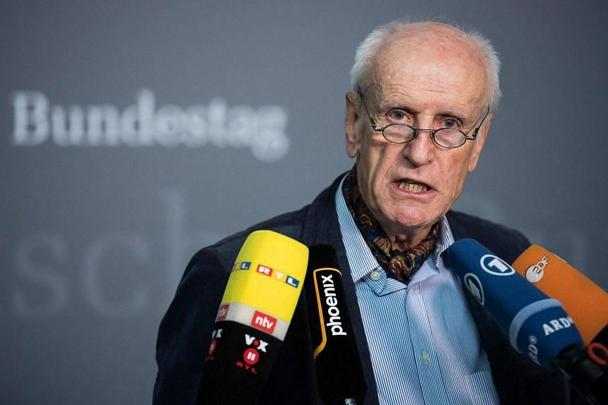 German candidate for the post of parliamentary vice-president of the Alternative for Germany (AfD) far-right party, Albrecht Glaser answers journalists' questions during a meeting of his party.