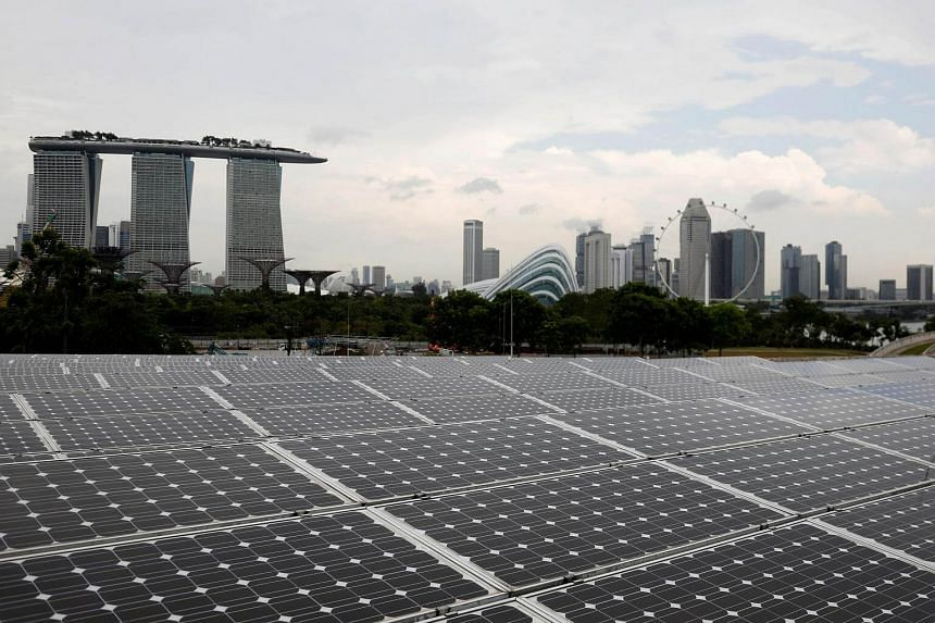 Rows of solar panels are installed near the Marina Bay Sands hotel and Gardens by the Bay in Singapore.