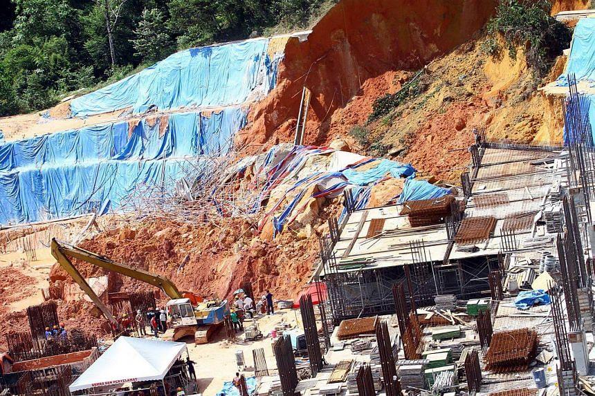 A view of Tanjung Bungah landslide.