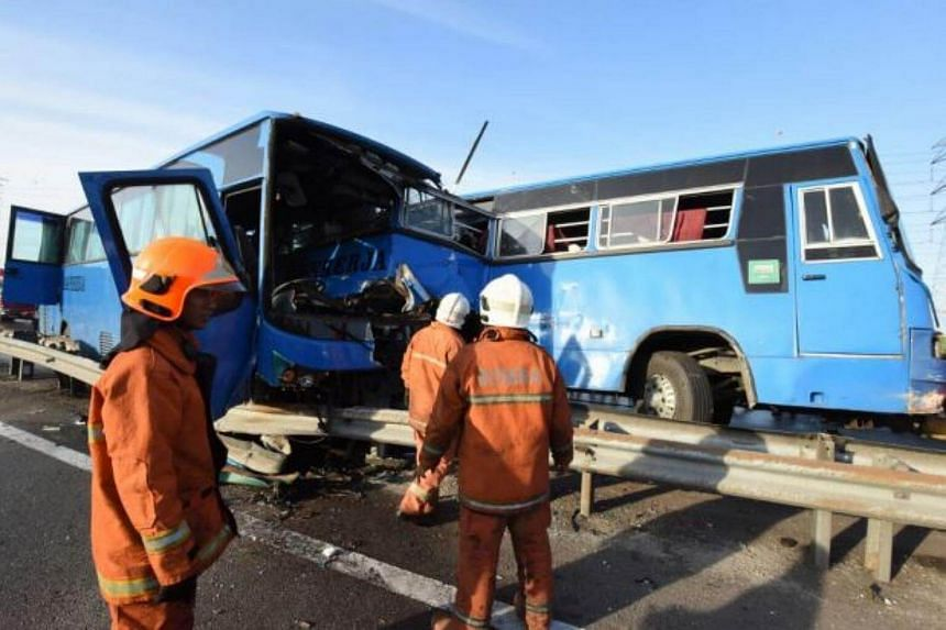 The accident involved two factory buses and one factory van which were carrying a total of 40 passengers, all women.