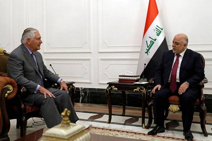 Secretary of State Rex Tillerson (left) meets with Iraq's Prime Minister Haider al-Abadi in Baghdad, on Oct 23, 2017.